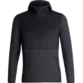 Icebreaker Descender Hybrid LS Half Zip Hood Men black/jet heather